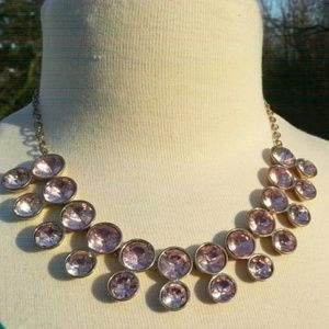 "Pink Rhinestone 2 row necklace 24"" length"